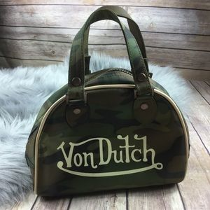 Von Dutch Mini Camo Print Bowling Style Bag